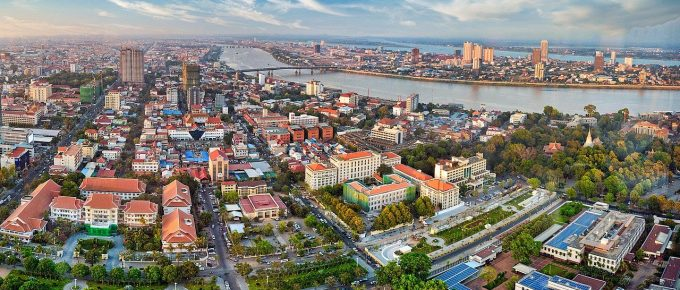 Phnom Penh view from drone